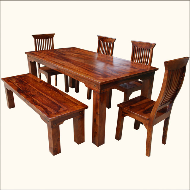 mediterranean casual indian rosewood 6pc dining set w bench dining sets by sierra living. Black Bedroom Furniture Sets. Home Design Ideas