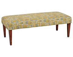 Transitional Willow Slipcovered Walnut Straight Leg Upholstered Bench contemporary-upholstered-benches
