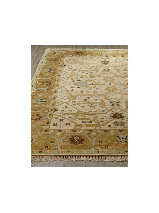 "Horchow - ""Dulin"" Gold Oushak Rug - Nothing speaks to elegance and sophistication like an Oushak-style rug. This one offers a traditional Oushak motif rendered in shades of gold and ivory, making it the perfect ground for fine furnishings. Hand knotted of hand-spun, sun-dried wool yarn....."