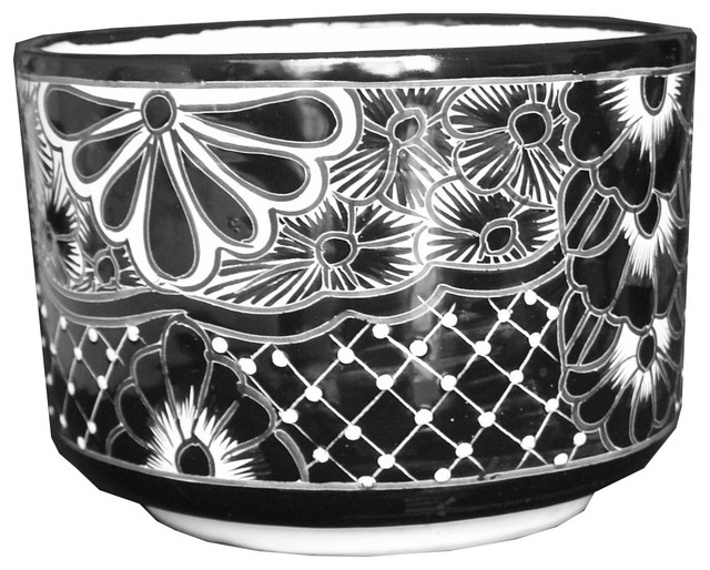 Talavera Outdoor Or Indoor Cylinder Planter, Black And