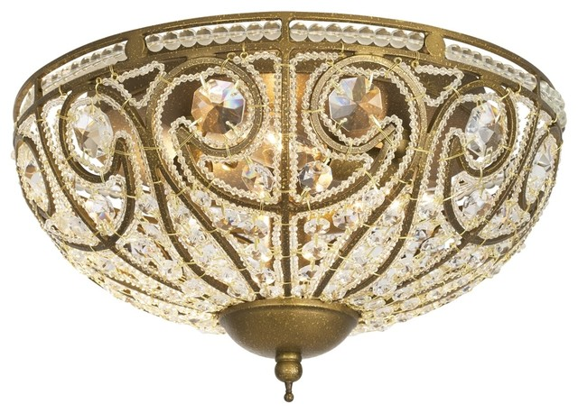 "Westmenlights Vintage Small Ceiling Light Flush Mount: Bethany Collection Antique Gold 13"" Wide Ceiling Light"