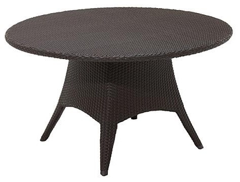 Plantation Round Table with Woven Top, Patio Furniture traditional-side-tables-and-end-tables