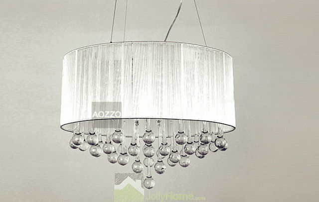 Crystal Chandelier Chandeliers With Large White Shade