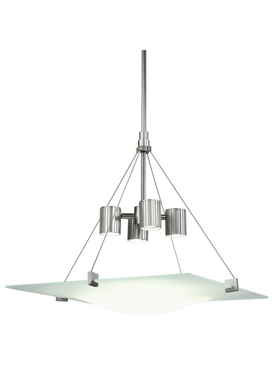 "Sonneman - Robert Sonneman Square Handkerchief Pendant Chandelier - This pendant chandelier design is perfectly at home in the modern world. From acclaimed designer Robert Sonneman it features a large square of ""handkerchief"" etched glass. The glass is suspended from a satin silver finish frame and light arrangement. Includes four 50 watt MR16 GU10 halogen bulbs. 21"" square glass. 5"" wide ceiling canopy. Includes three 12"" and one 6"" hang extension rods.  Satin silver finish.  Etched glass.  Includes four 50 watt MR16 GU10 halogen bulbs.   21"" square glass.   5"" wide ceiling canopy.   Includes three 12"" and one 6"" hang extension rods."