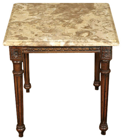 Solid Wood Mahogany Marble Top Occasional Coffee Table Traditional Coffee Tables By Mbw