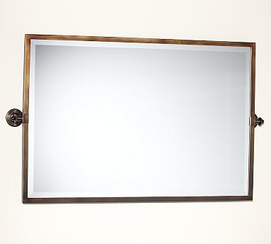 Kensington Pivot Mirror Extra Large Wide Rectangle Antique Bronze Finish Traditional