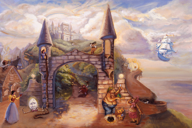 Fairy tale castle wall art traditional wallpaper by for Castle mural wallpaper