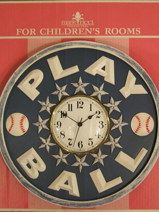 Children's Clocks - Children's Play Ball Clock by Marie Ricci.