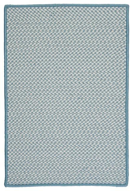 Indoor/Outdoor Houndstooth Tweed, Sea Blue Rug, 3'X5' contemporary-outdoor-rugs