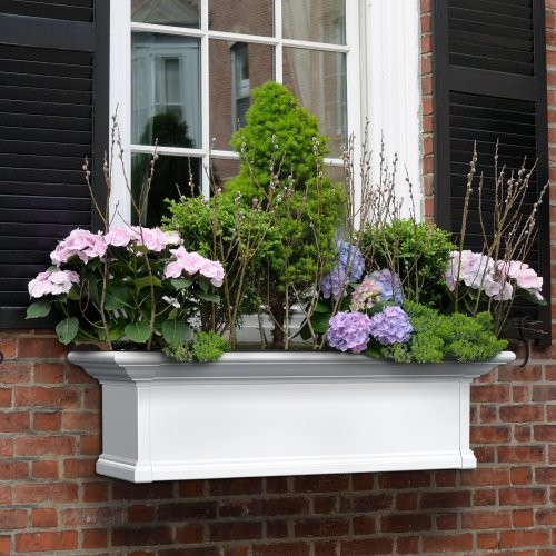 Mayne Rectangle Vinyl Yorkshire Window Box - White traditional-outdoor-planters