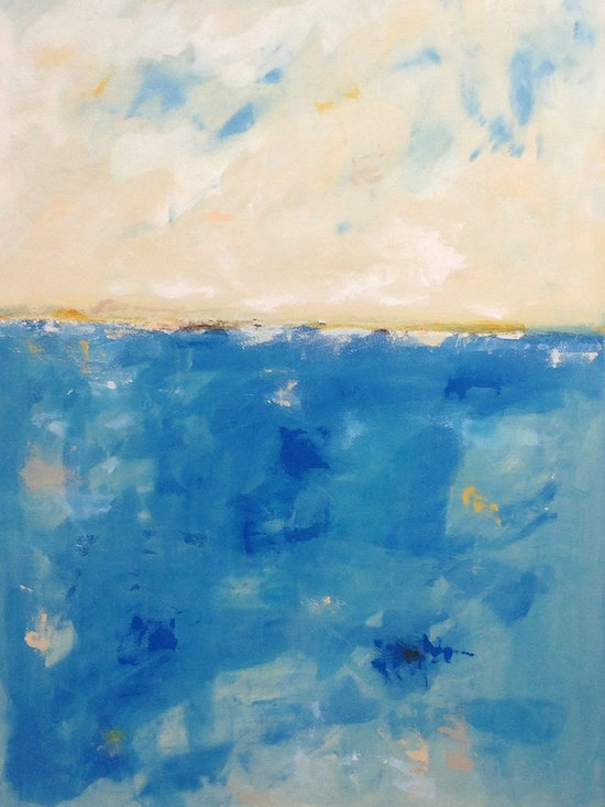 """Linda Donohue - Large Blue Abstract Seascape -Marina Blues 40 x 60 - Colorful large Seascape. This is an original acylic painting on gallery wrapped canvas. The sides are painted to match the front and it's ready to hang as it is or be put into a frame. It measures """" x 60"""" x 1 3/8""""d and is inspired by the beautiful San Francisco Bay Area where I live."""