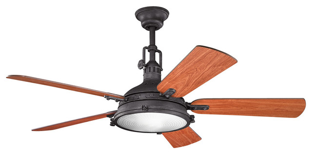 Kichler lighting 300018dbk hatteras bay indoor ceiling fans in distressed black beach style - Beach themed ceiling fan ...