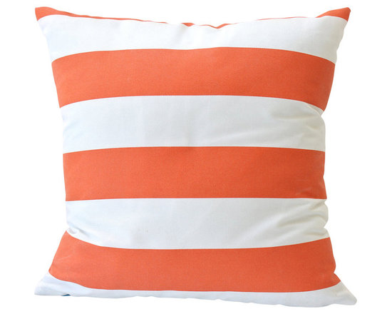 The Pillow Studio - Striped Outdoor Pillow Cover in Tangerine and Ivory - This striped outdoor pillow cover in tangerine and ivory is graphic and fun. I love the way it looks on this front porch.