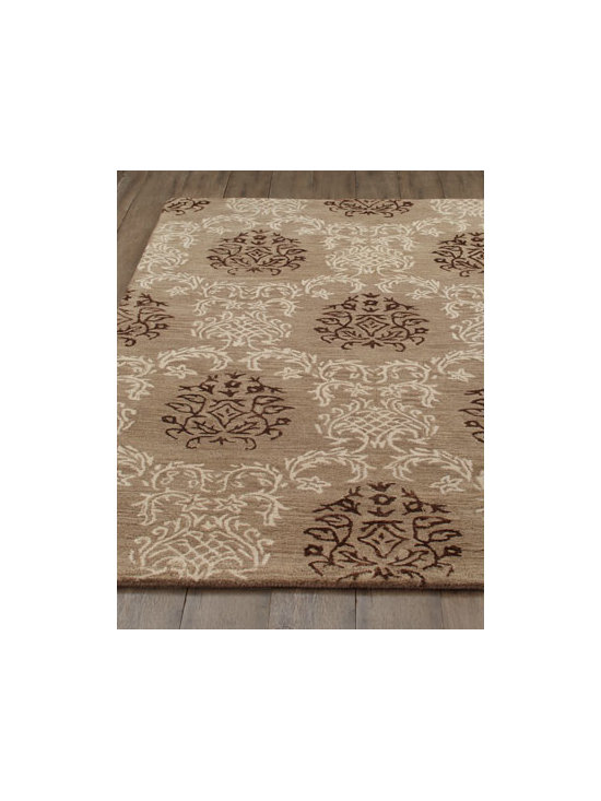 "Horchow - ""Windcrest"" Rug - Damask patterns are showing up everywhere. Here an oversized damask pattern is rendered in tone-on-tone neutral hues for a look that goes with anything. Hand tufted of New Zealand wool with shimmering viscose accents. Sizes are approximate. Imported. See our Rug Guide for tips on how to mea"