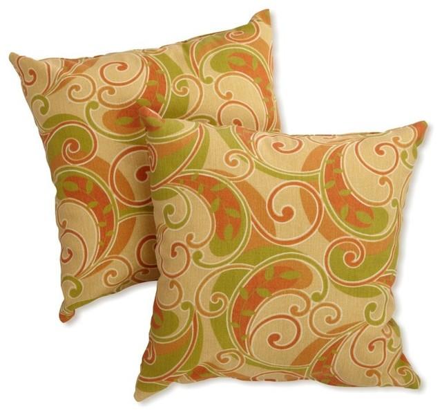Blazing Needles Set of 2 Premium Outdoor Fabric 18 in. Pillows - 9910-S/2-REO-27 contemporary-outdoor-pillows