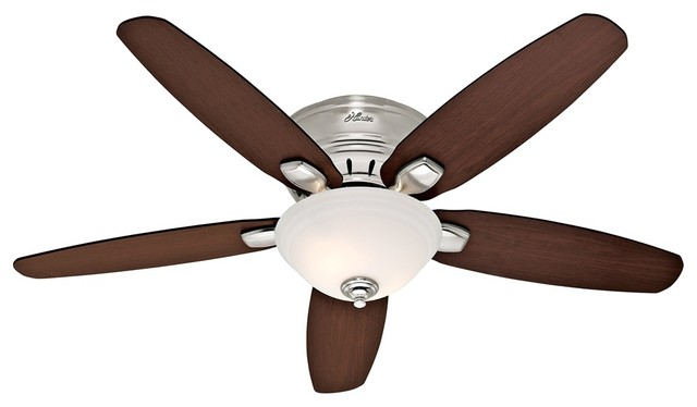 transitional 52 hunter fremont brushed nickel hugger fan. Black Bedroom Furniture Sets. Home Design Ideas