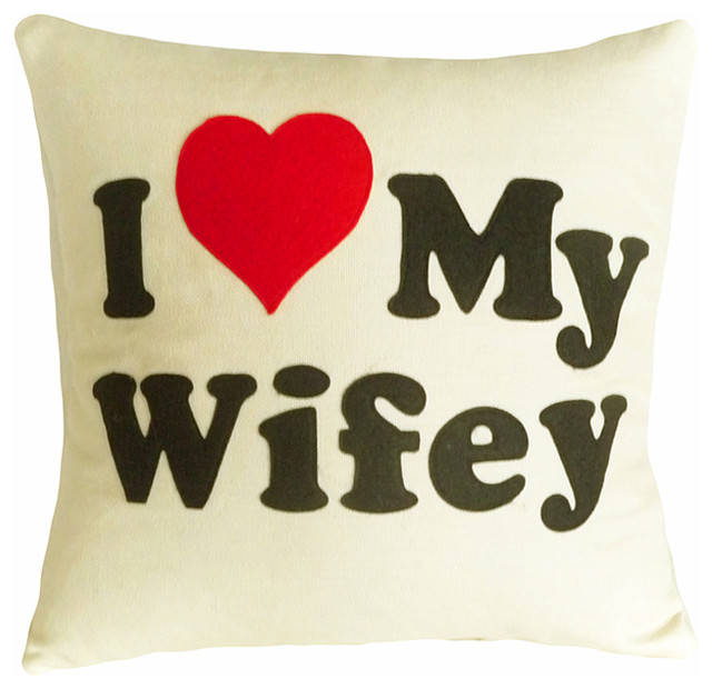 Love Wifey Word Pillow - Modern - Decorative Pillows - vancouver - by PillowThrowDecor