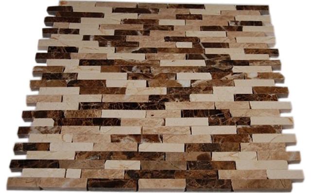 Cafe Au Lait Cracked Joint Brick Layout Marble Mosaic Tile traditional-tile