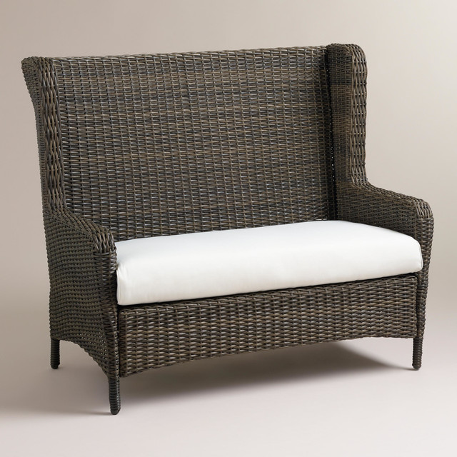 Himara All Weather Wicker Wingback Settee Contemporary
