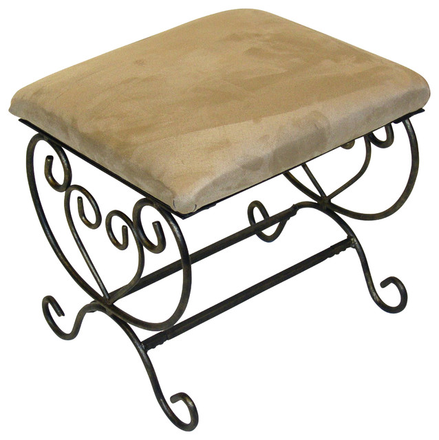 4D Concepts Small Metal Bench in Beige traditional-upholstered-benches