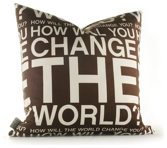 Inhabit Change The World Graphic Pillow - in Chocolate modern-decorative-pillows