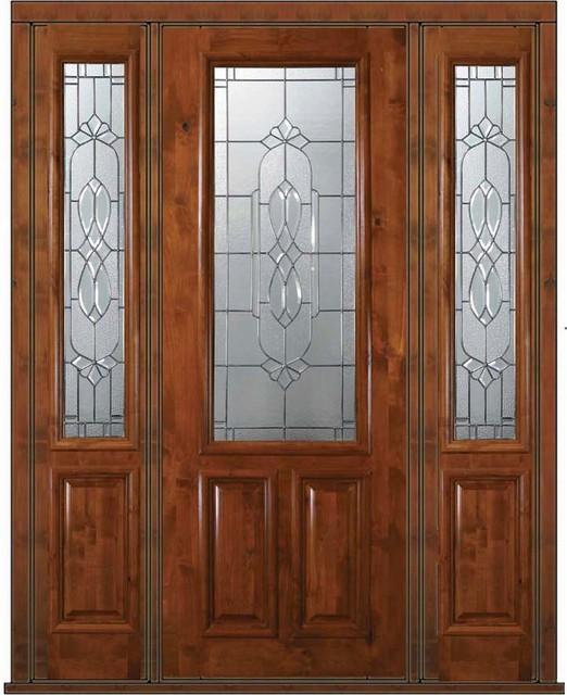 Pre-hung Sidelights Door 96 Wood Alder Kensington 2/3 Lite Glass - Mediterranean - Front Doors ...
