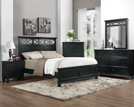 Youth  Beds - Sanibel Black Queen Panel Bed by Homelegance 2119BK-1