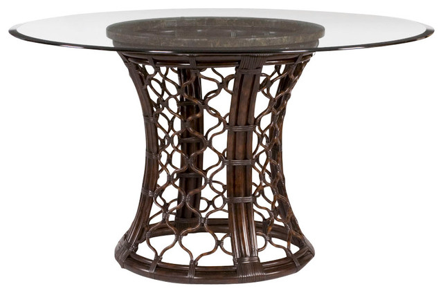 round glass dining table with rattan pedestal traditional dining