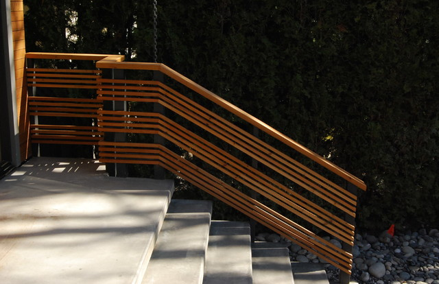Open Wood Handrails Detail Contemporary Vancouver By