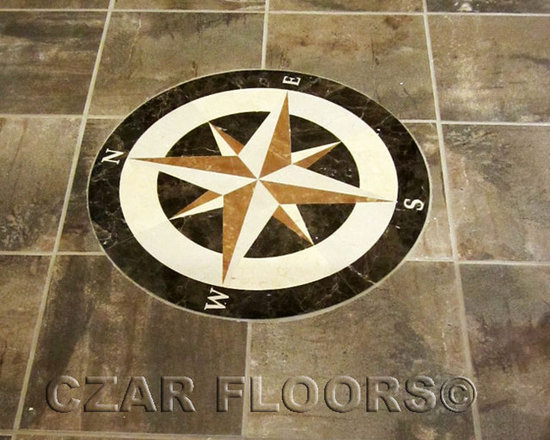 Entry - Stone floor medallion made  with natural marble.