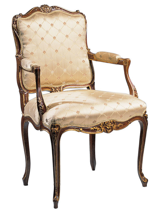 "Inviting Home - Louis XV Style Upholstered Armchair - Louis XV style carved beechwood armchair; seat is 26""W x 23-1/3""D x 21""H; back is 41""H; arms are 29-1/4""H; hand-crafted in Italy; Louis XV style carved beech wood upholstered chairs in antiqued satin wood finish with antiqued gold leaf accents. Chairs have beige patterned upholstery. These upholstered chairs are made in Italy."