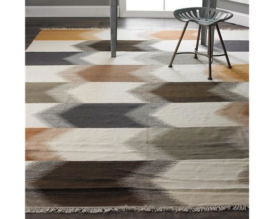 Modern Earth Ikat Stripe Kilim Rug -
