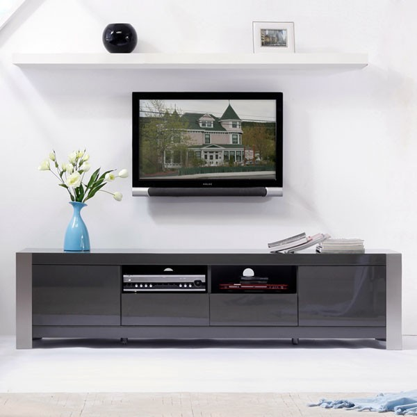 "B-Modern - Composer 79"" High-Gloss Gray TV Stand - BM-100-GRY - Traditional - Entertainment ..."
