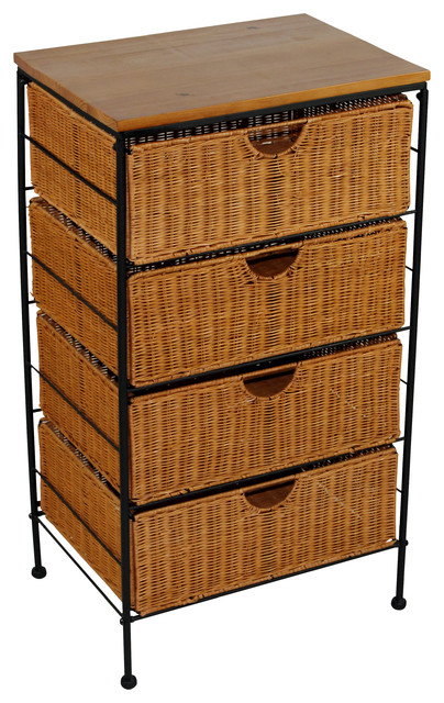 4d Concepts 4 Drawer Wicker Stand In Wicker Metal
