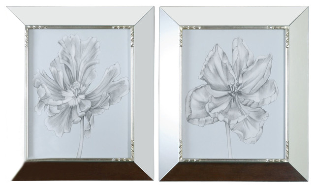 Grace feyock silver blue tulips in mirrored framed wall for Modern mirrored wall art