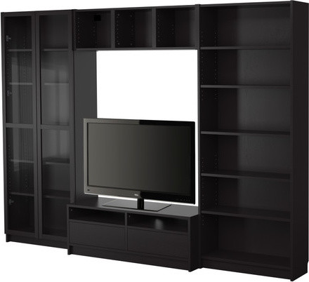 Billy bookcase combination with tv bench scandinavian for Ikea expedit bookcase tv stand