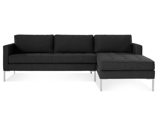 Blu Dot - Paramount Sofa with Right Arm Chaise, Lead - As comfortable as your favorite jeans. As versatile as a little black dress. This classic sofa and chaise combination can go anywhere in style but don't be surprised if it steals the limelight in its own quiet way. Available in ash, ceramic, lead and oatmeal.