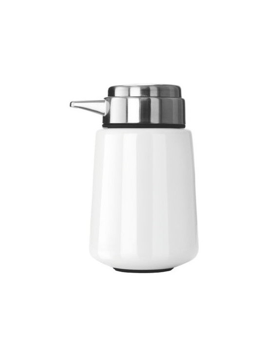 """Vipp - Vipp Soap Dispenser - A unique pump system and timeless design make the Vipp Soap Dispenser (2006) the last liquid soap pump you'll ever buy. Available in an assortment of colors to suit any bathroom or kitchen, it embodies all the characteristics of the Vipp line of household products: handmade attention to detail, the highest quality components available and a form dictated by its essential function. Vipp was launched in 1938 when Holger Nielsen designed and manufactured a garbage bin for his wife's hair salon. Now at the helm of this family-run business is Nielsen's daughter, Jette Egelund. Made in Denmark. Rubber base grips and protects countertops. Timeless design intersects with a unique pump system that's perfect for the bath, kitchen or workroom.  Coordinates with other Vipp Bath Hardware, including the Shower Shelf, Towel Bar and Bath Hooks. Limited edition color: Rising Red. """"We wanted to create something optimistic,"""" said the Vipp team. """"Something with glow and joy to it."""""""