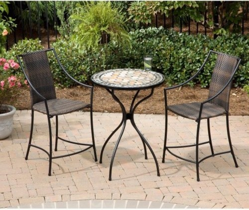 Home Styles Marble High Top Laguna Patio Bistro Set Contemporary Patio Furniture And Outdoor