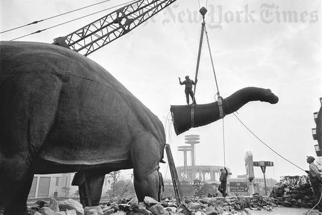 World's Fair Dinosaur Dismantled - 1965 Photograph eclectic-artwork