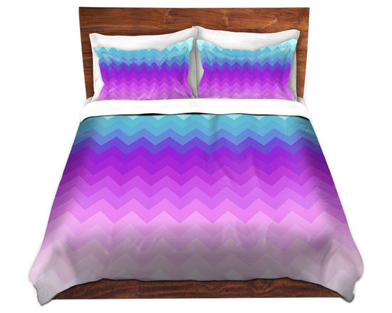 DiaNoche Designs - Duvet Cover Twill by Organic Saturation - Pastel Ombre Chevron - Lightweight and soft brushed twill Duvet Cover sizes Twin, Queen, King.  SHAMS NOT INCLUDED.  This duvet is designed to wash upon arrival for maximum softness.   Each duvet starts by looming the fabric and cutting to the size ordered.  The Image is printed and your Duvet Cover is meticulously sewn together with ties in each corner and a concealed zip closure.  All in the USA!!  Poly top with a Cotton Poly underside.  Dye Sublimation printing permanently adheres the ink to the material for long life and durability. Printed top, cream colored bottom, Machine Washable, Product may vary slightly from image.