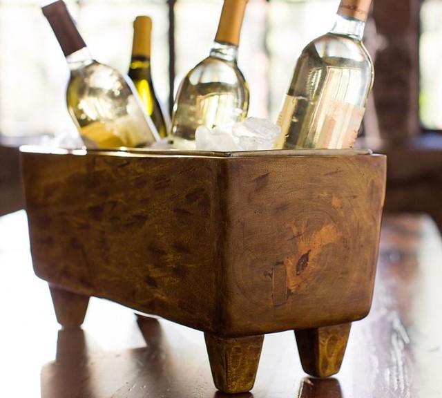 Blonde Wood Wine Trough Mediterranean Ice Tools And