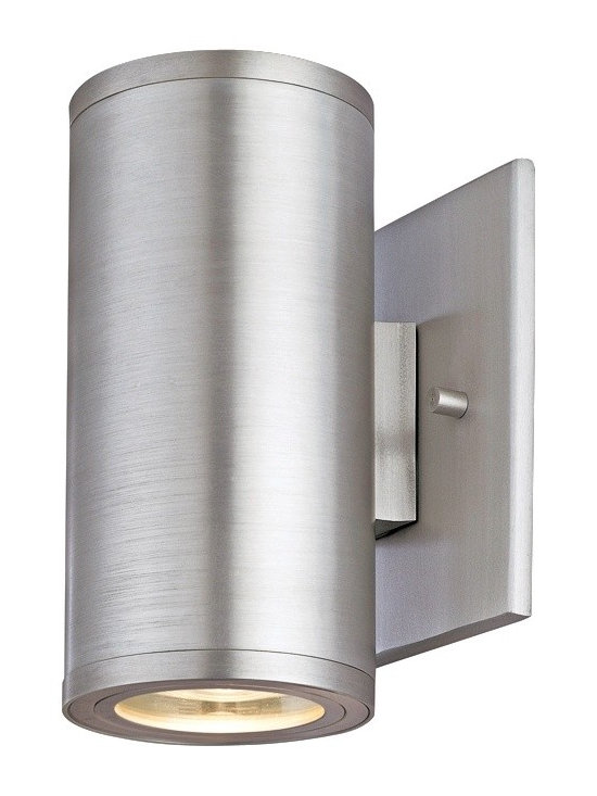 """CSL - Silo Dual Satin Aluminum 6 1/2"""" High ADA Outdoor Wall Light - Contemporary outdoor lighting fixtures from the CSL collection offers smart styling and compact designs. This stylish aluminum outdoor wall light comes in a gorgeous satin aluminum finish. With an uplight and downlight this modern design is one of the best ways to wash your outdoor walls in light. Satin Aluminum finish. Aluminum construction. Rated for wet locations. ADA compliant. Includes two 35 watt halogen bulbs. 6 1/4"""" high. 3"""" wide. Extends 3 1/2"""" from the wall. Backplate is 4 1/2"""" square.  Satin aluminum finish.   Aluminum construction.   Low-profile contemporary outdoor lighting fixture.  Rated for wet locations.   ADA compliant.   From Creative Systems Lighting.  Includes two 35 watt halogen bulbs.   6 1/4"""" high.   3"""" wide.   Extends 3 1/2"""" from the wall.   Backplate is 4 1/2"""" square."""