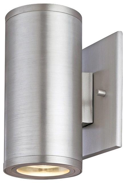 "Silo Dual Satin Aluminum 6 1/2"" High ADA Outdoor Wall Light contemporary-outdoor-wall-lights-and-sconces"