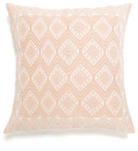 Light Pink Decorative Pillow : Handwoven Mexican Throw Pillow Cover, Light Pink eclectic-decorative-pillows