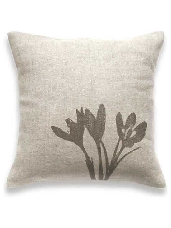 Crocus Print Decorative Lumbar Pillow Cover Natural Linen 16 inch square -