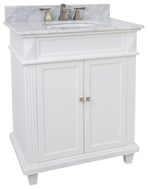 Lyn Design VAN094 30 T MW White Marble Top Modern Bathroom Vanities And