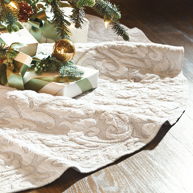 Valerie Quilted Damask Tree Skirt - Traditional - Bedskirts - by Ballard Designs