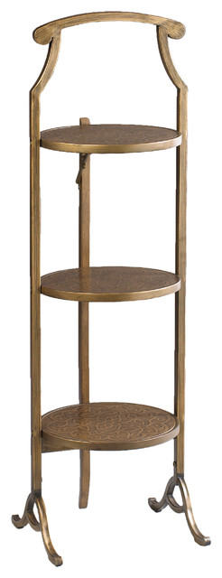 3 tier metal folding table gold traditional side for Small gold side table