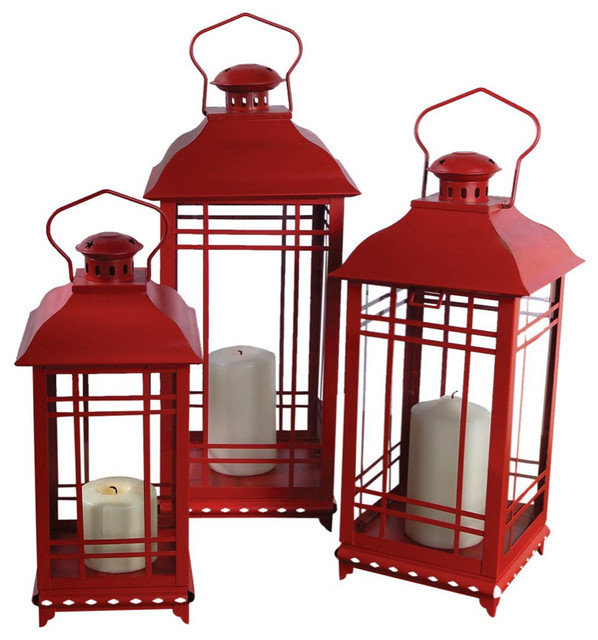 Three Piece Candle Lantern Set in Red traditional-candles-and-candle-holders